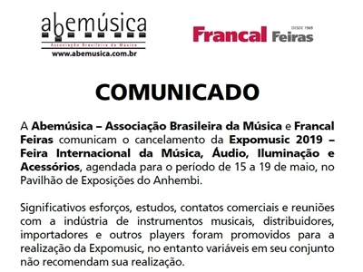 ​COMUNICADO - Cancelamento Expomusic 2019